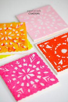 DIY Papel Picado Coasters  Read more - http://www.stylemepretty.com/living/2013/06/21/diy-papel-picado-coasters/