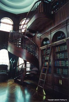 Library staircase.