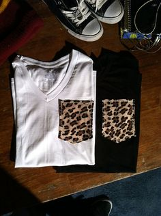 DIY leopard pockets... I am so doing this to some of my plain t-shirts :)