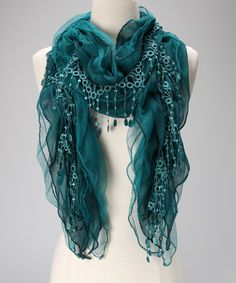 Blue Lace Chiffon Scarf - peacock blue for Juno