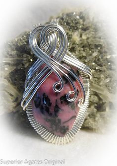Pink & Black Rhodonite Wire Wrapped Stone by superioragates, $35.00
