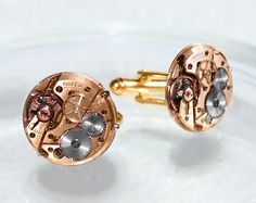 OMEGA Steampunk Cufflinks - Made with Genuine Omega Watch Movement! Available at TimeInFantasy, $165.00