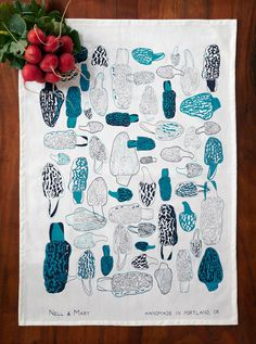 Show your fungi love with this morel tea towel.