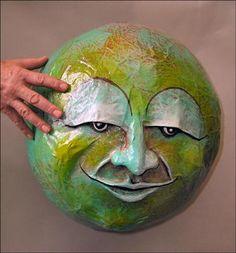 """paper mache Sculpture   Sculpture Gallery: Papier Mache Heads (""""Moons"""") by Tom Fletcher"""