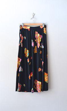 black midi skirt / rayon skirt / Postcards from Japan skirt