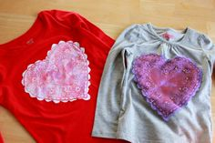 Doily Printed Heart Shirts for Valentine's Day