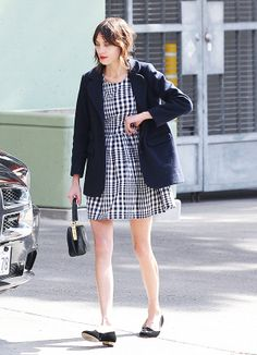 Alexa Chung wearing a Topshop Gingham Check Smock Dress ($76) // #style #fashion #trends