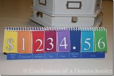 Free Printable  Place Value: Money Practice Board  from http://www.confessionsofahomeschooler.com/
