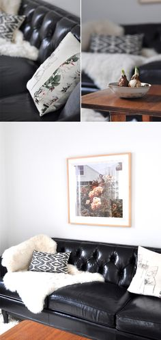 spotted!  our chester leather sofa in ink.. so chic!