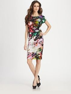 Teri Jon - Ruched Floral Dress