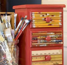 Can't remember what's in your drawers? Glue some on the outside as a reminder.
