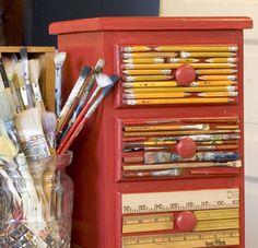 art stuff, art corner, idea, craft supplies, craft organization, jewelry studio, diy, art supplies, chest of drawers