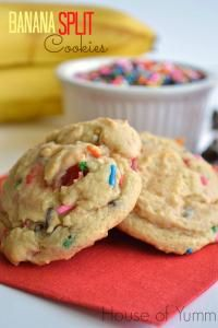 Banana Split Cookies are the perfect cookie for your next party loaded with banana split goodness!!