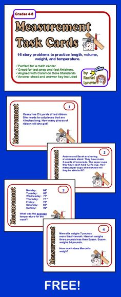 FREE:  Here are 16 measurement story problem cards to use with your students. These cards focus primarily on length, volume, weight, and temperature. They will require a combination of basic operations, conversions, and logic to solve.