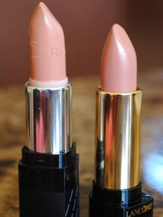 Revlon Soft Nude and Lancome Rich Cashmere - perfect lipstick colors for fair to medium skin tones