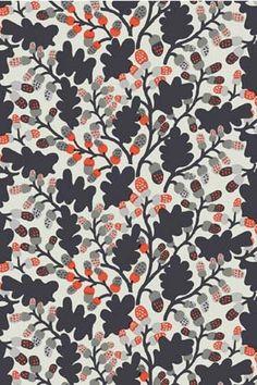 Pähkinäpuu cotton fabric by Marimekko