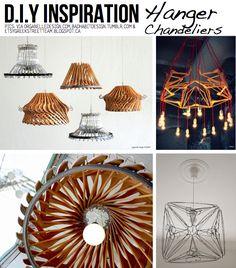 Idea originale per #realizzare un #lampadario #faidate vállfa project, hanger chandeli, hanger diy