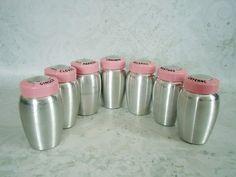 Mid Century Pink Kromex Spice Shakers  Vintage by @SwirlingOrange11, $115.00