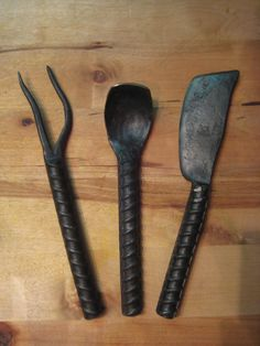 Rebar Cutlery Set Hand Forged by Blacksmith by FoggyMountainForge, $40.00
