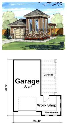 One car garage plans on pinterest garage plans car for Size of 2 5 car garage