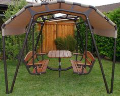 Sunset Swings 460GN Glider 6 Person Patio Set Swing Sand color NEW IN BOXES