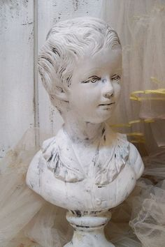Bust sculpture of French boy chalky white by AnitaSperoDesign, $160.00