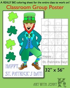 "Create a large (32"" x 56"") group classroom ""Happy St. Patrick's Day"" poster. Super fun…and super easy!"