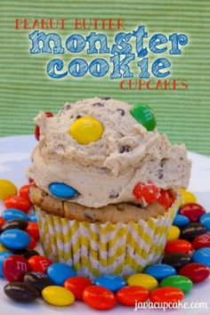 Peanut Butter Monster Cookie Cupcakes
