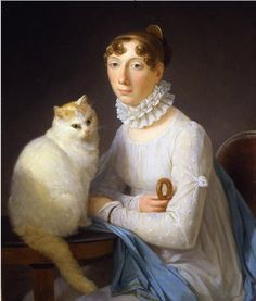 Marguerite Gerard: La dame avec son chat    Note the bracelet worn over the sleeve!