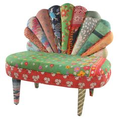 Peacock Loveseat III // One-of-a-kind peacock loveseat made from reclaimed vintage kantha throws and mango wood framing