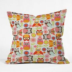 DENY Designs Valentina Ramos Cute Little Owls Decorative Pillow