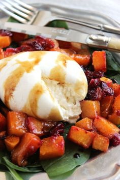 Simple and ready in minutes...this Roasted Butternut Squash Cranberry and Burrata Salad will wow your guests this holiday season.