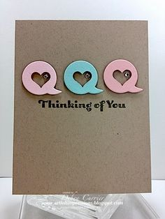 handmade card from ARTfelt Impressions ... layout design: Retro Sketches 118 ... clean and simple .... kraft  card .. three round talk bubbles with negative space heart and a rhinestone inside ... great card!! ... Stampin' Up!
