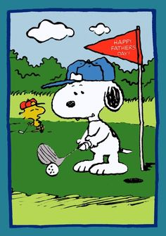 happi father, father day, charli brown, greeting cards, fathers day gifts, snoopi golf, peanuts gang, happy fathers day, peanut gang