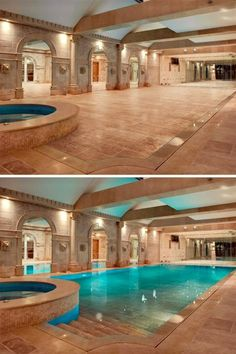 Hidden indoor swimming pool - at the push of a button, decking descends automatically and water fills in the void left behind turning a cocktail into a pool party and back again.