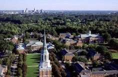 Wake Forest University and Winston Salem in the background