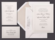 Our Pearl Stripe Border invitation suite is shown here engraved in black ink.