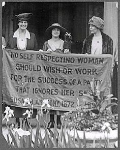 "Mrs. James Rector, Mary Dubrow, Alice Paul (members of the National Woman's Party) picket the Republican Convention of 1920 for its refusal to support the Susan B. Anthony Amendment. The women's protest sign displays a quotation from Susan B. Anthony: ""No self-respecting woman should wish or work for a party that ignores her sex""."