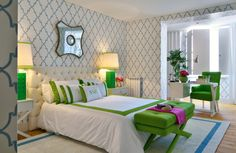 Stencil Walls: I love the whole room...colors, wall, and design.