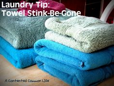 Once a Month Towel Stink-Be-Gone:  Step One: Wash your towels with your favorite detergent and one cup of vinegar for the rinse cycle.  NO fabric softener. {don't worry- the vinegar will keep them soft- trust me on this.}  Water setting: warm. (my warm temp is like hot water!)  *FYI: I've taken to putting vinegar in my wash all the time.    Step Two: Wash your towels a second time with a half cup of baking soda (replacing detergent with baking soda).    Step Three: Toss your wet towels in the dr