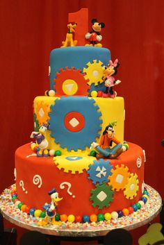Awesome cake at a Mickey Mouse Clubhouse Party #mickeymouse #cake mice, clubhous cake, birthday parties, mous clubhous, clubhouses, disney cakes, mickey mouse clubhouse, 1st birthdays, kid cakes