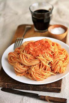 Spaghetti with Tomato Vodka Cream Sauce