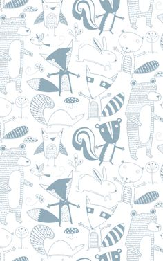 Friendly Forest by Loboloup #pattern #illustration Free Ships, Inspiration, Art, Illustration, Forests Wallpapers, Friends Forests, Animal Pattern, Loboloup Friends, Kids Rooms