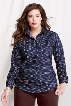 Women's Long Sleeve Pattern Supima No Iron Shirt from Lands' End