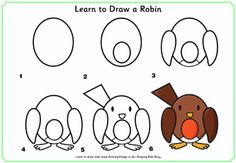 Learn to draw a robin draw lesson, kid black, tekenen, robins, dessin, learn to draw animals, birds