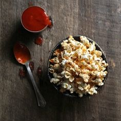 Sriracha-Coconut Popcorn with Smoked Sea Salt — a dangerously delicious snack!