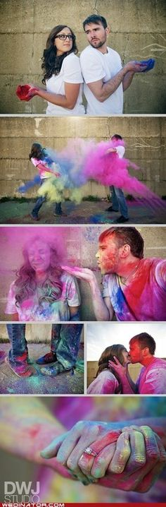<3 engagement pictures, engagement photos, family photos, the dress, engagement photo shoots, the color run, engagement pics, paint, engagement shoots