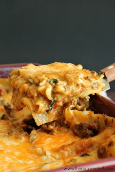 Creamy Chipotle and Italian Sausage Lasagna -- makes 2! One for dinner, and one for the freezer or a friend in need. Creamy, smoky, and cheesy with a hint of spice.