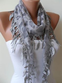 Light Grey Scarf  with Trim Edge Shaped Leaves by SwedishShop, $17.90