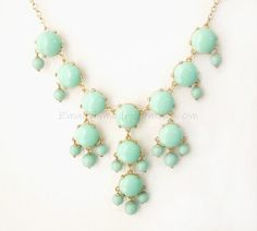 Mint Green (S) - Small Size Smooth Bubble Statement Necklace - 20mm - Gold Tone ( S731-C45 ). $15.00, via Etsy.